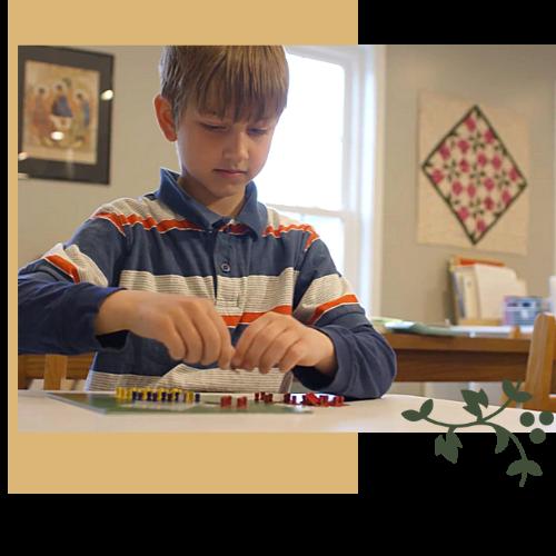 Child using Montessori Math materials